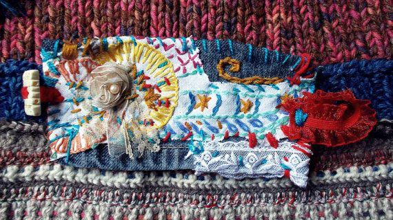 Embroidered denim cuff by Zestria by zestria on Etsy, $30.00