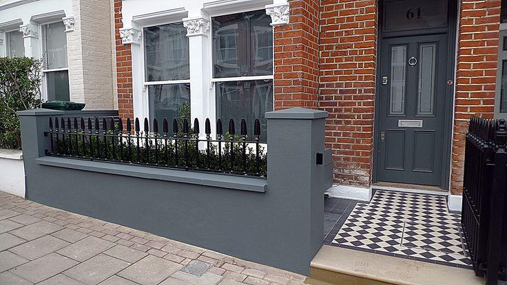 Front Garden Design grey walls planting Balham Clapham Wandsworth Battersea