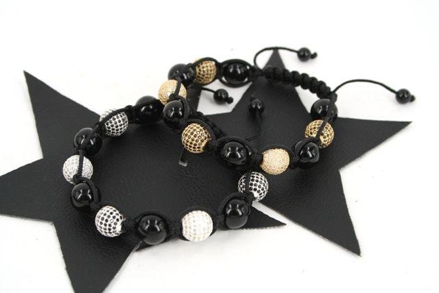 Knyttet armbånd med sølv/forgyldt perler med CZ sten - materialer til lav selv smykker