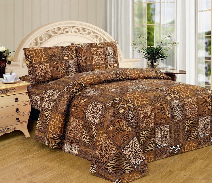 Leopard Zebra King Size Sheet Set 4 Pc Safari Animal Print Pillow Shams Bedding