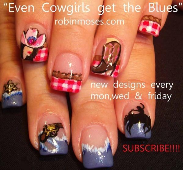 Nail-art by Robin Moses: cowgirl nails, red and blue nail, western nail, country nail, renaissance fair nail, autumn nail 2011, girl nail, nailsmag, wizard nail, merlin nail, cowboy boot nail, even cowgirls get the blues nail,
