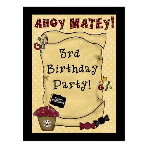 3rd Pirate Birthday Invitations