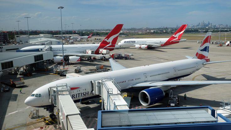 https://flic.kr/p/216QLj5 | Qantas A380 and British B77W at Terminal 1, SYD Airport