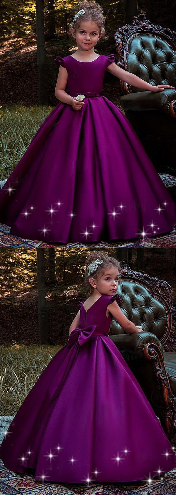 Sweet Satin Scoop Neckline Cap Sleeves Floor-length Ball Gown Flower Girl Dresses With Belt & Bowknot