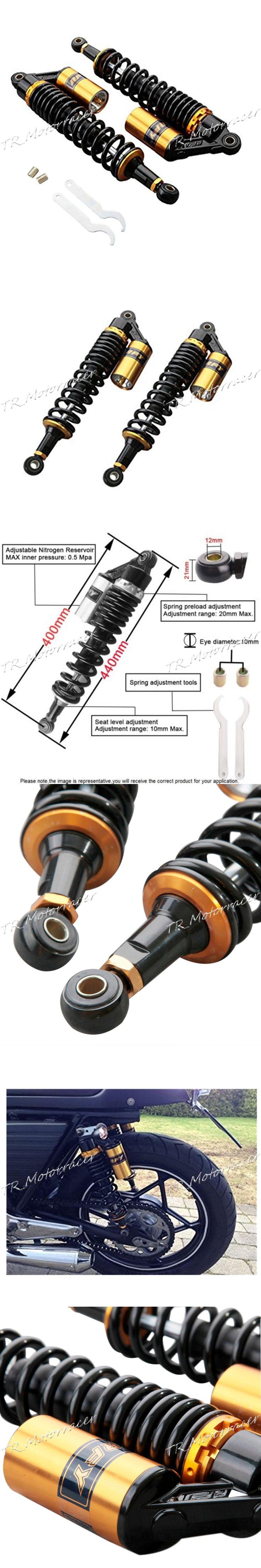 "15.75"" 400mm Air Shock Absorbers Universal For Honda Suzuki Yamaha Kawasaki ATV Go Kart Quad Dirt Sport Bikes Black and Gold"