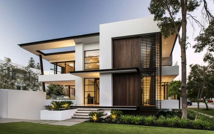 Contemporary house front elevation architecture Modern house columns