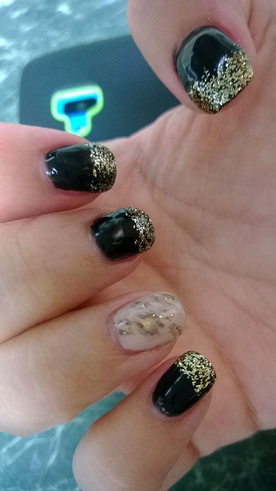 Gel nails, gold, black, leopard print | Acryl nails - Gel laque - Gel