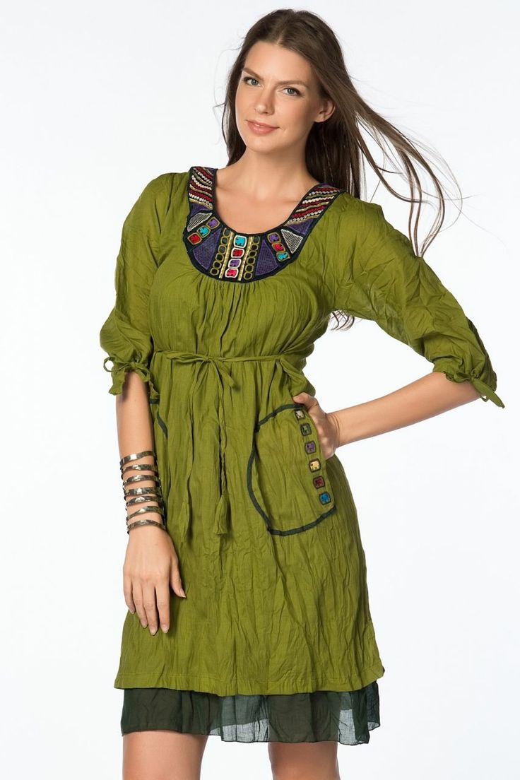 Otantik Gölyazı Elbise - Yeşil