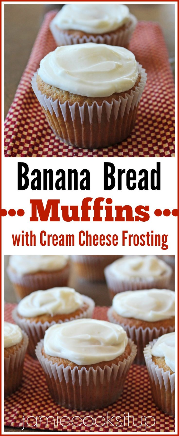 Banana Bread Muffins with Cream Cheese Frosting from Jamie Cooks It Up! Loaded with yummy banana bread flavor and a silky cream cheese frosting that is divine. A great way to use up those brown spotted bananas.