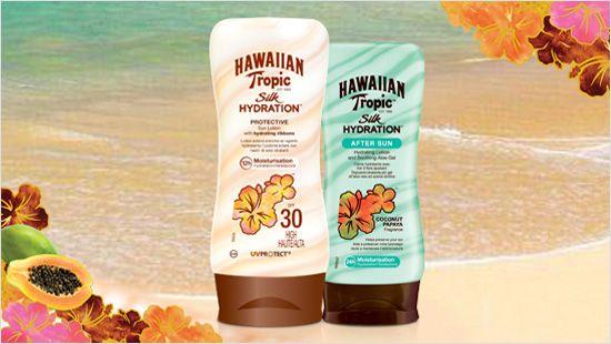 Hawaiian Tropic Silk Hydration es la primera línea de productos solares con cintas de seda hidratantes