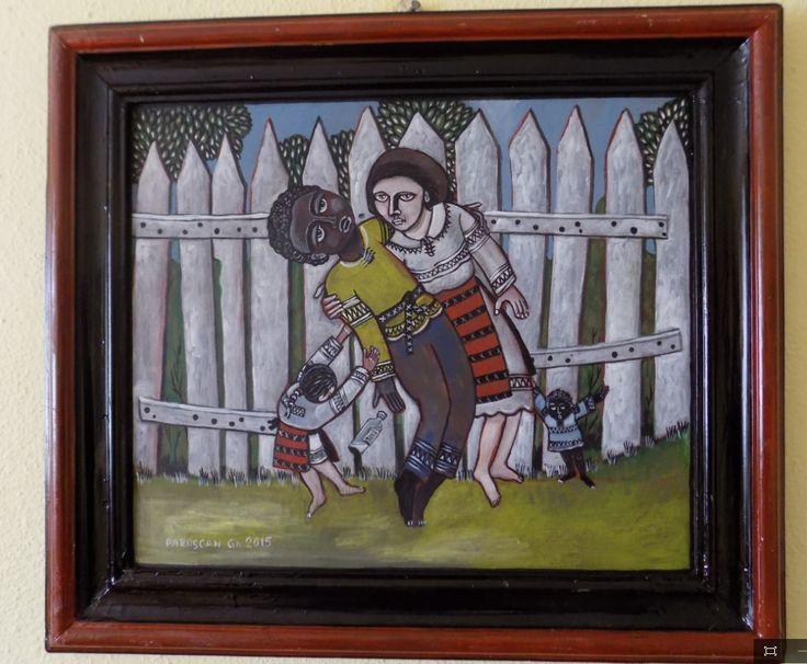 Pictura naiva | Integrare rurala, ulei pe panza | Boutiq Art