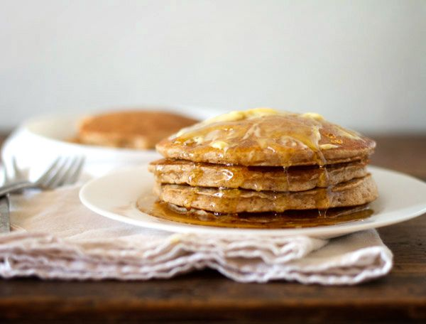 whole wheat pancakes for two- tried this and it's not too bad! I wouldn't add the water though... made it too runny
