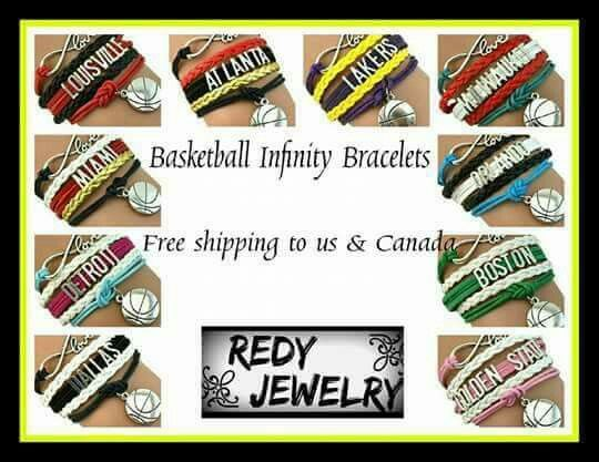 Basketball Infinity Bracelets   Represent your favorite basketball team with these amazing bracelets!   Shop online today at www.redyjewelry.com   In the comments section put the name of your choice of team and also my name, Shauntez Allen, for FREE shipping!  www.redyjewelry.com