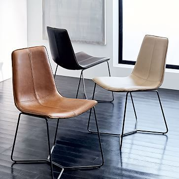 Leather Slope Dining Chair love the leather tone for warmth  $399 each  *** has a counter stool