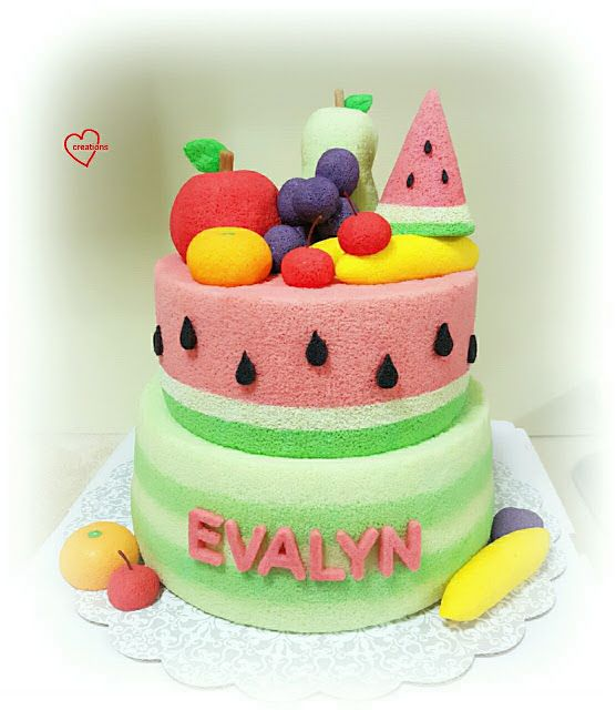 Loving Creations for You: Watermelon Fruits-themed Tier Chiffon Cake (Waterm...