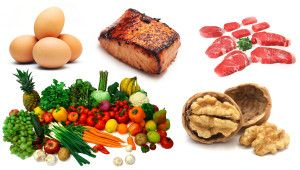 Fat, protein, fruits and vegetable makes healthy diet