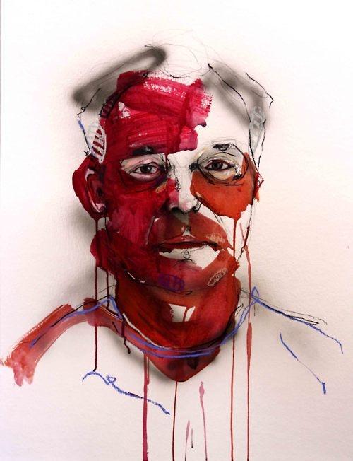 Portrait de Yanick Ros  Acrylic, charcoal, pastel, aerograph on paper  Lou Ros 2011
