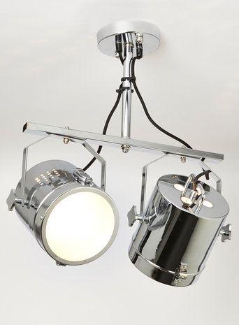 Iluminate Giles Camera Flush Chrome Double Headed Ceiling Light House Lights Living Room Lighting