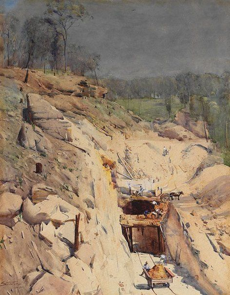 An image of Blue Mountain tunnel by Arthur Streeton pencil, watercolour, Chinese white highlights on paper http://www.artgallery.nsw.gov.au/ Art Gallery NSW