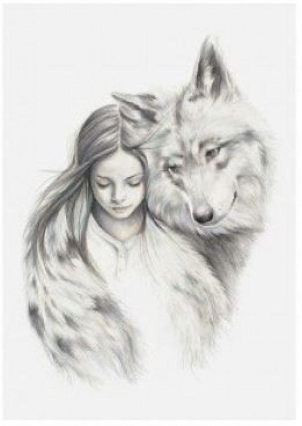 Картинка нарисованная девушка волк