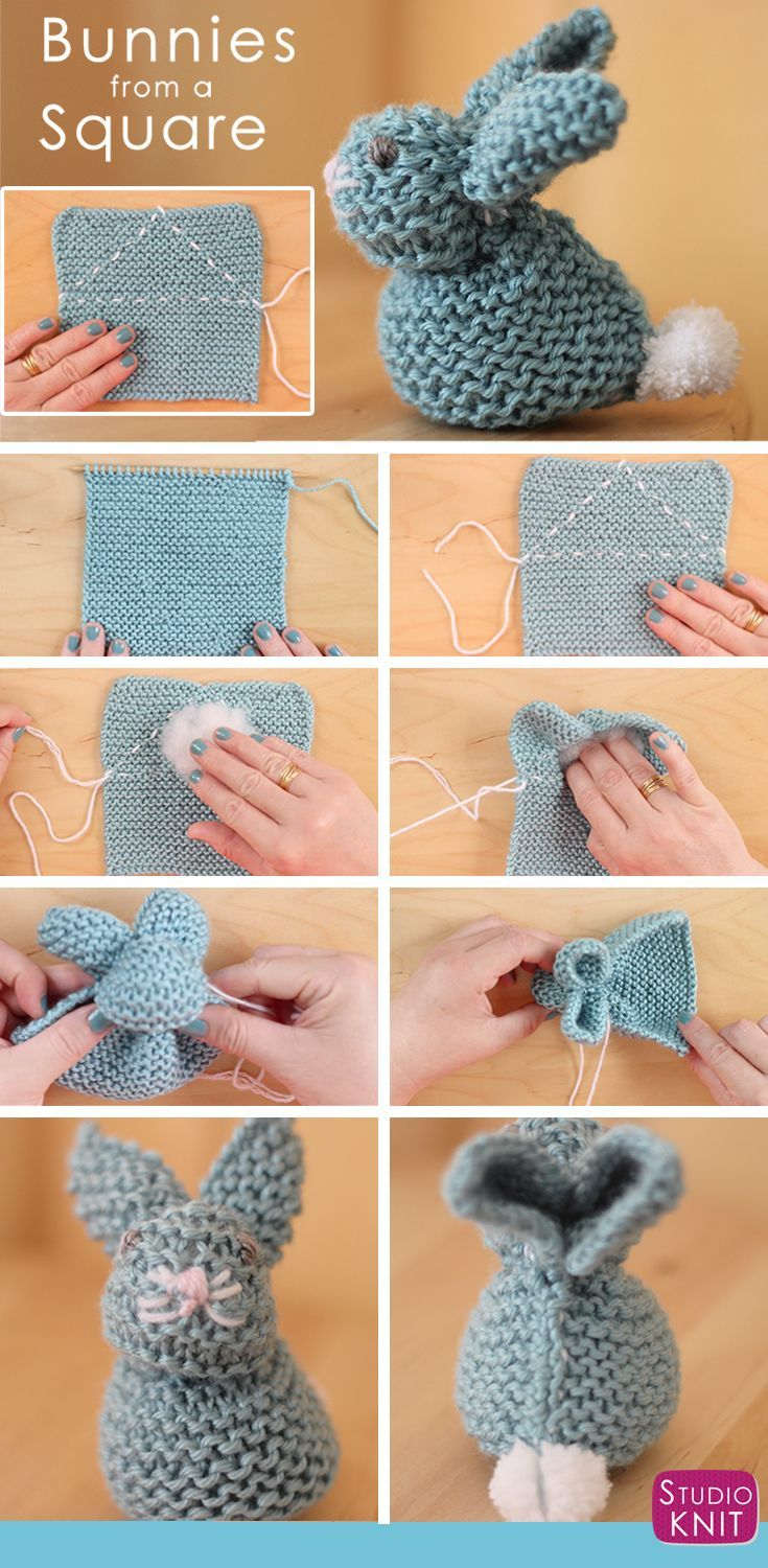 How to Knit a Bunny from a Square with Studio Knit. Knitted Softies for Springtime and Easter! via @StudioKnit