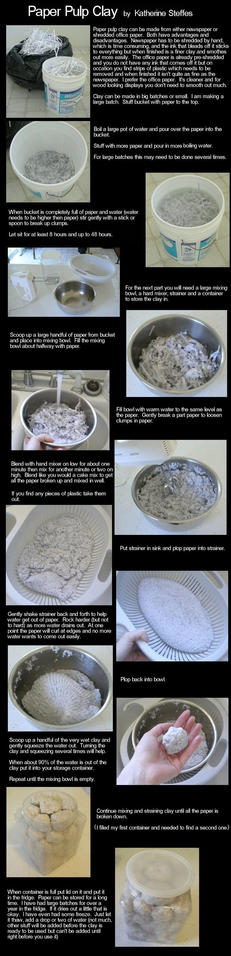 http://www.enchantedbeings.com/tutorials/paperpulpcombo1.jpg paper clay using either office shred or newspaper shred and water. Has to soak for couple of days.: