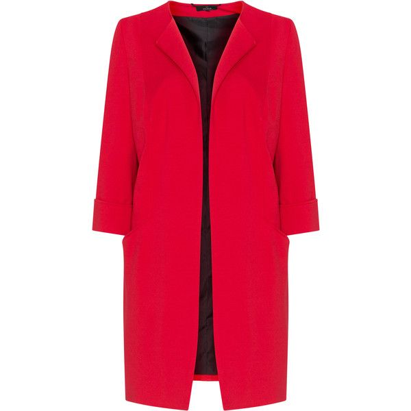 Jo and Julia Red Plus Size Longline blazer ($195) ❤ liked on Polyvore featuring outerwear, jackets, blazers, plus size, red, women's plus size blazers, long sleeve blazer, women's plus size jackets, plus size red blazer and women's plus size red blazer