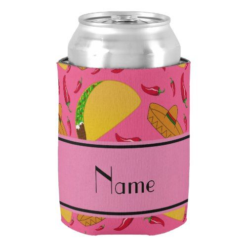 Personalized name pink tacos sombreros chilis can cooler