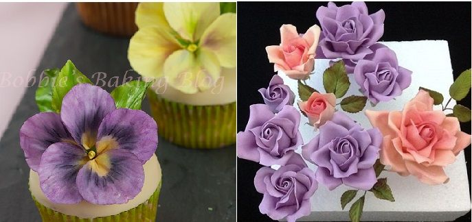 pansy tutorial by Bobbie's Baking Blog via Craftsy left and large rose tutorial by Cakeage via Cakes Decor