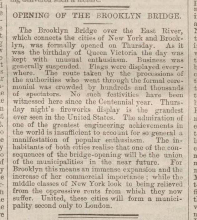 British Newspaper Archive Blog The Opening of the Brooklyn Bridge - 24 May 1883 » British Newspaper Archive Blog