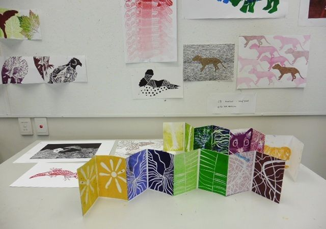 woodcut zines with shared mark making plate examples