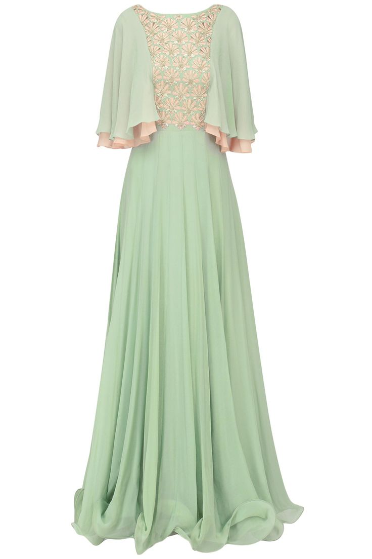 SEEMA THUKRAL Dusky Green Embroidered Layered Sleeves Pleated Gown. Shop Now! #seemathukral #contemporary #green #embroidered #pleated #gown #indianfashion #indiandesigners #perniaspopupshop #happyshopping