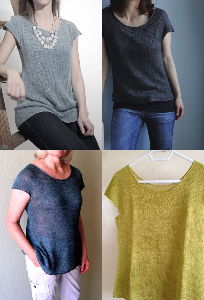 (Project photos [clockwise]:MizzBritta,memia, Rrrr,roadrunnerknitter) The Silken Straw Summer Sweater by PurlSohoisa light summer slip of a sweater that is just as at homeover a tank or cami…