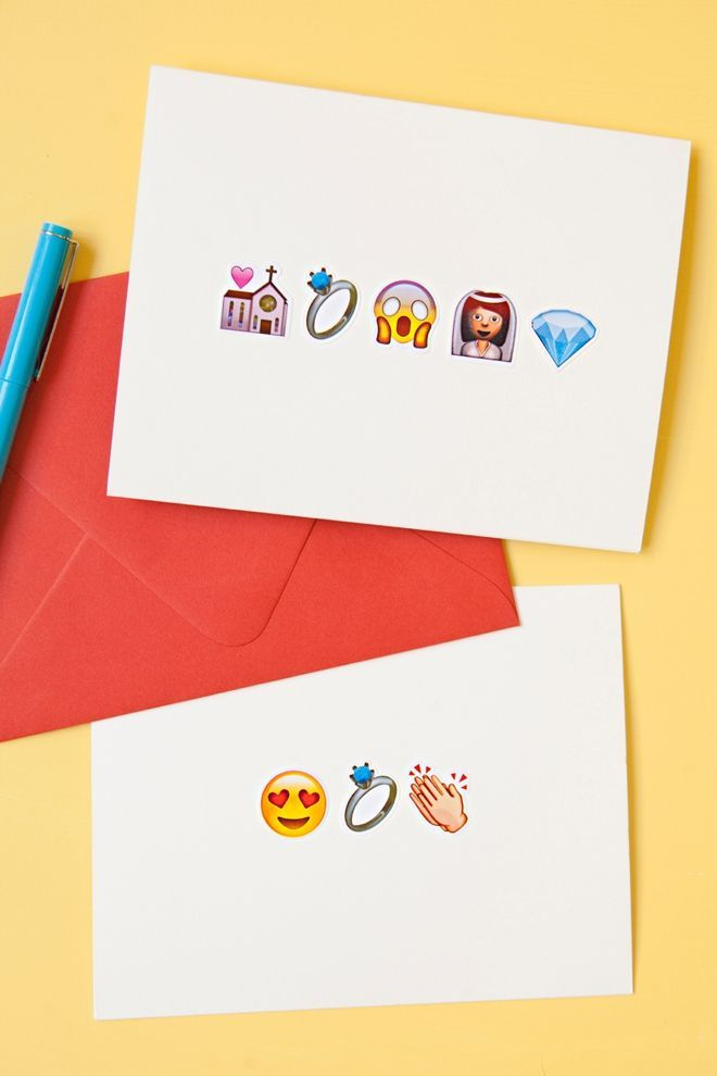 DIY awesome Emoji wedding greeting cards!