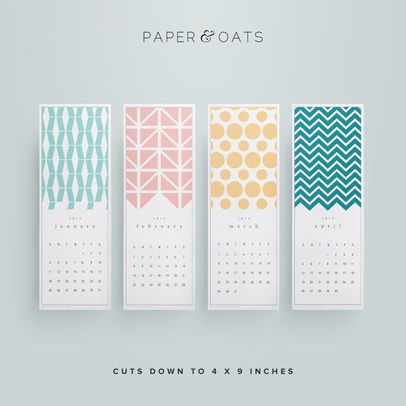 New Printable 2015 Desk or Wall Calendar PDF // by paperandoats