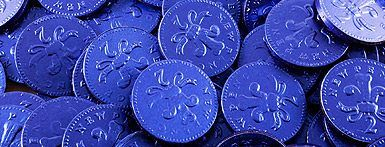 BLUE FOILED MILK CHOCOLATE COINS,cash spend money foiled choc  english british 2p,retro sweets,retro sweetshops,liquorice sweets,toffees,toffee sweets,boiled sweets