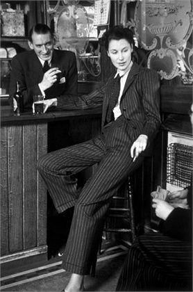 chalk stripe - photo by Bert Hardy, 1941 fascinating photo print woman in men's pinstripe suit pant trouser jacket shirt tie vintage fashion style 40s war era unique