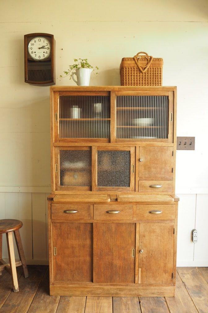 2段重ね 木製食器棚 作業台付き[1893]                                                                                                                                                      もっと見る