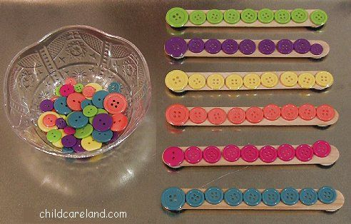 Craft Stick Button Sorting ... perfect for fine motor.