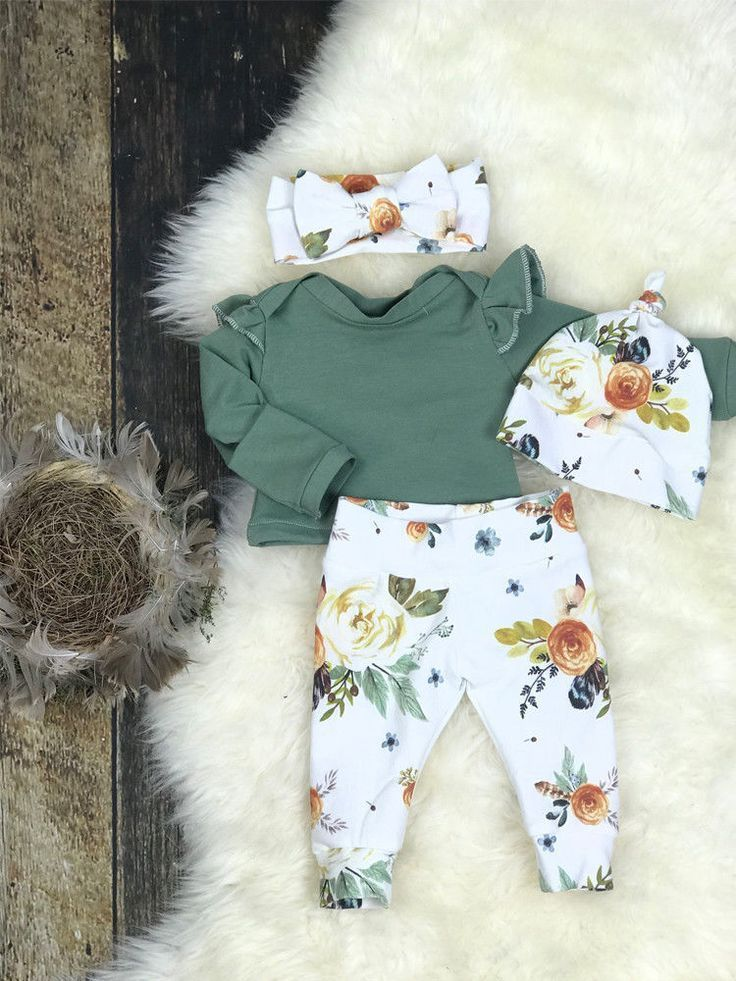 US Newborn Baby Girls Winter Outfits Clothes Flower Tops+Ruffle Pants 3Pcs Set