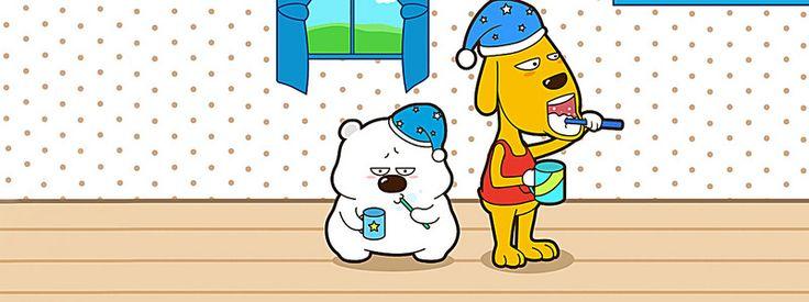 Banner Animado para escovar OS dentes, Cartoon, Winnie, Linda, Imagem de fundo