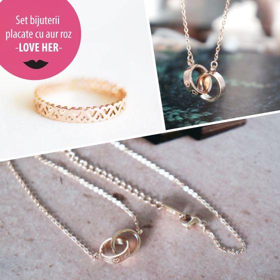 Set bijuterii placate cu aur roz - LOVE HER - MSM-Shop