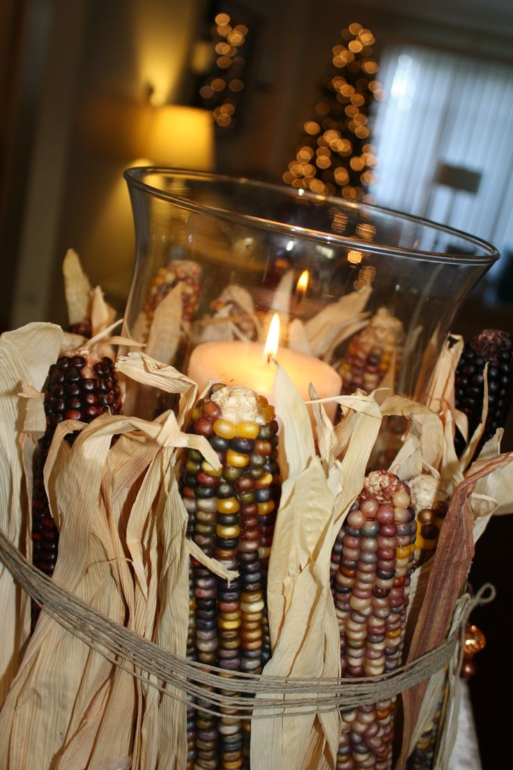 Thanksgiving DIY decor... You should soak corn husks, shred them, and use those to tie