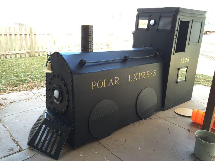 Polar express train from fridge boxes!! Card board train