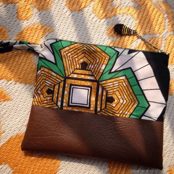 African Wax Print Fold Over Clutch Bag  Beautiful by ChangNoii