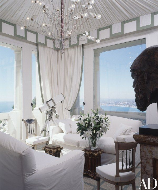 A tower room overlooks the Mediterranean at Elton John's residence in Nice, France   archdigest.com