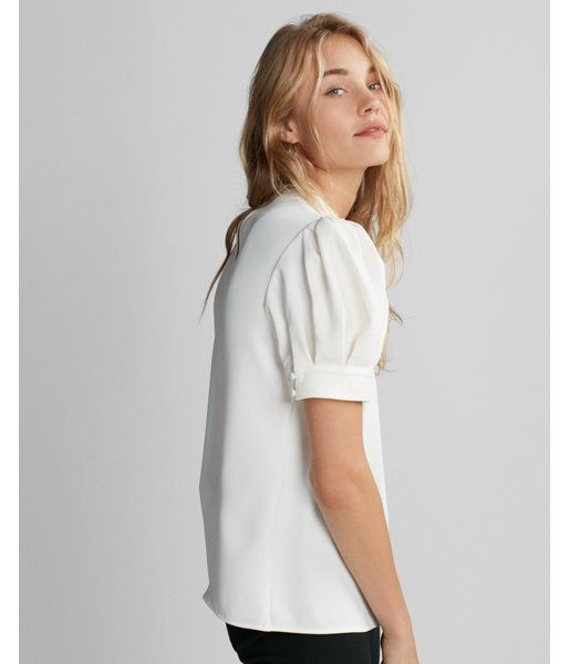 c246a66f6288d3 Express Short Sleeve Puff Shoulder Blouse | Products | Puffy sleeves ...