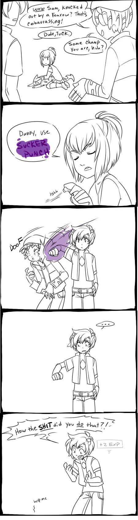 Danny Phantom Pokemon Crossover with Danny fused with a Froslass (comic by ectolime).