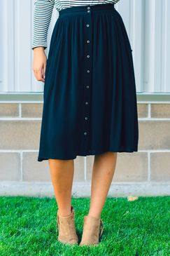 Button Front A-Line Skirt black-a-line-fit-and-flare-skirt-midi-skirt-button-front
