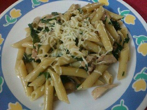 Penne in Chicken Mushroom Spinach Sauce